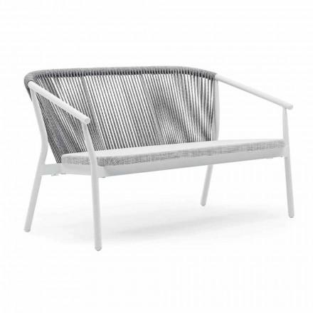 Sofá de dos plazas de jardín apilable de aluminio y tela - Smart By Varaschin