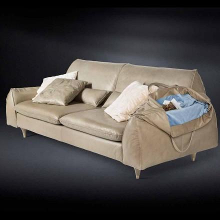 Sofá de piel y madera maciza reposabrazos portaobjetos Eve