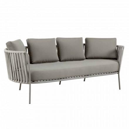 Sofá de 3 plazas para exterior en metal, cuerda y tela Made in Italy - Mari