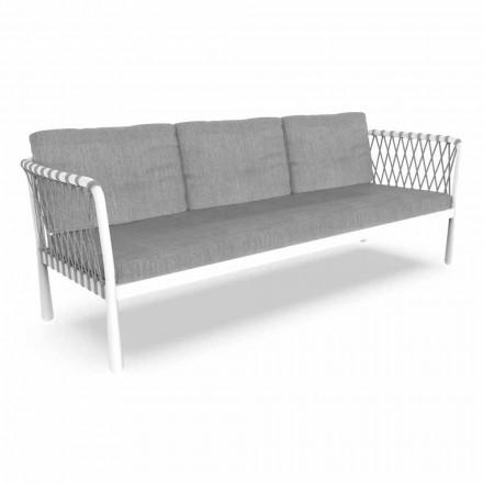 Sofá de jardín moderno de tres plazas en aluminio y tela - Sofy by Talenti