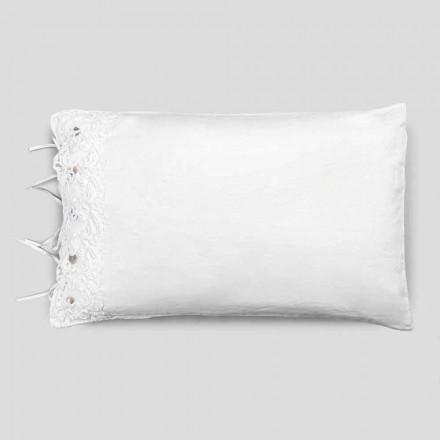 Funda de almohada de ropa de cama con encaje blanco, diseño de lujo Made in Italy - Kiss