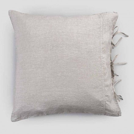 Funda de almohada de lino liviano con tiza o respaldo con cordones de diseño cuadrado - Prisco