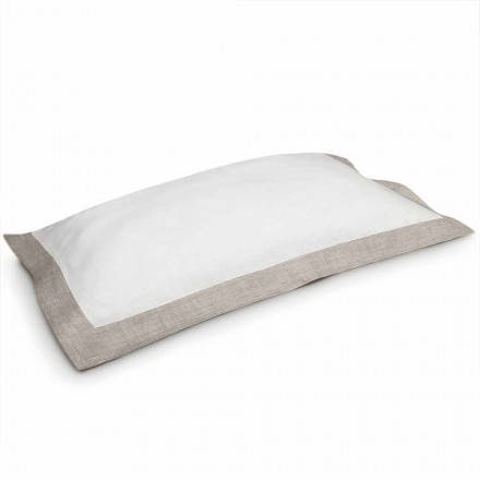 Funda de almohada bicolor en lino blanco y natural Made in Italy - Poppy
