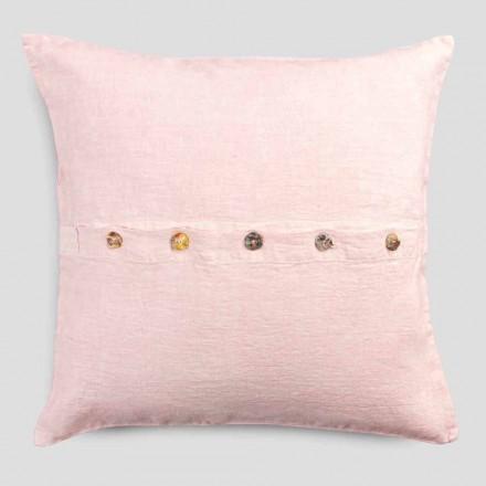 Funda de almohada cuadrada de lino de colores con botones Agoya en nácar - Mediterráneo