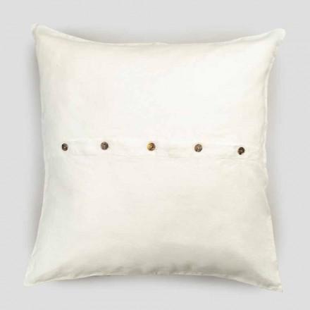 Funda de almohada cuadrada de lino de colores intensos con botones en Agoya - Mediterráneo
