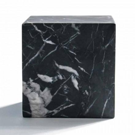 Pisapapeles de cubo moderno en mármol Marquinia negro satinado hecho en Italia - Qubino