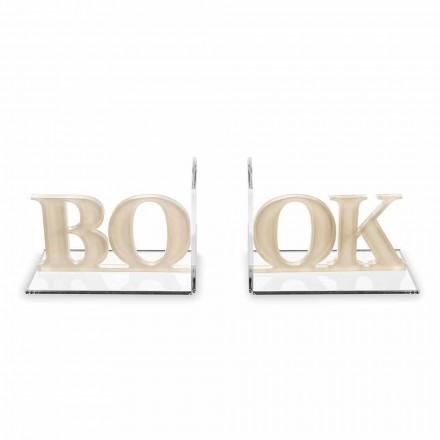 Sujetalibros de diseño en libro escrito de plexiglás beige o blanco - Febook