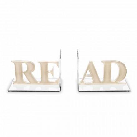 Sujetalibros en diseño de lectura de plexiglás beige o blanco - Feread