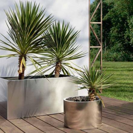 Jardinera de jardín de diseño redondo o rectangular en acero Made in Italy - Filadelfia
