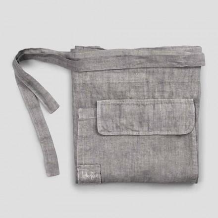 Delantal de cocina en lino gris antracita modelo bajo con bolsillo - Flick