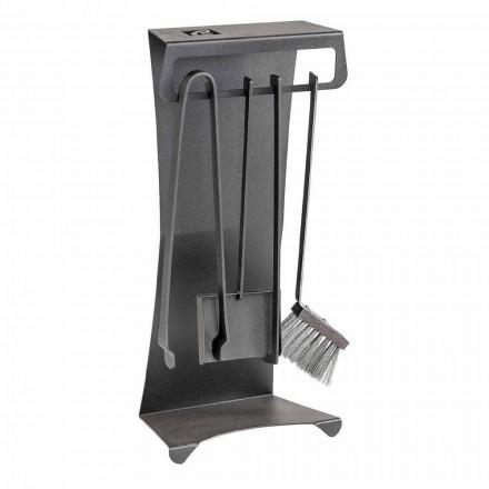 Juego de 4 herramientas para chimenea de acero de diseño Made in Italy - Chandler