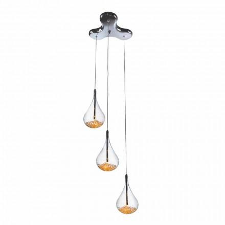 Lámpara de suspensión con 3 o 4 luces en vidrio borosilicato y metal - peras
