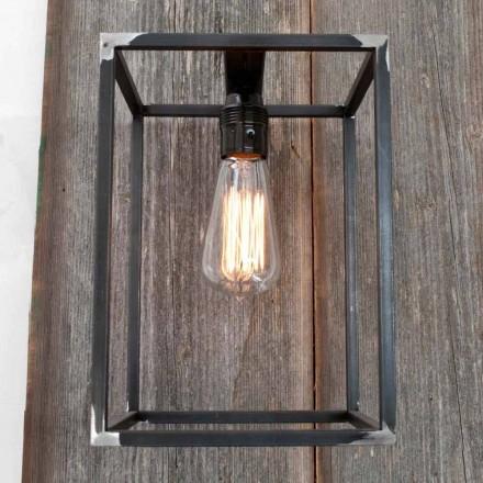 Lámpara de pared hecha a mano con estructura de hierro negro Made in Italy - Cubola