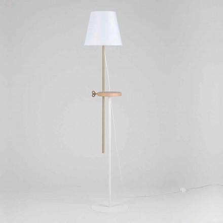 Lámpara de pie de diseño en acero, fresno y latón Made in Italy - Pitulla