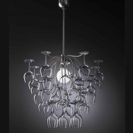 Lámpara de suspensión hecha con 30 vasos modelo Sauvignon
