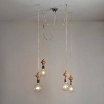 Lámpara colgante 4 luces con elemento de madera Bois