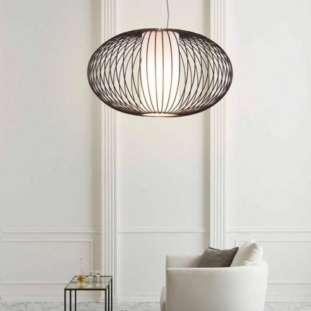 Lámpara de suspensión pintada en acero, 90xh.53x L. cordón 100 cm Gioia