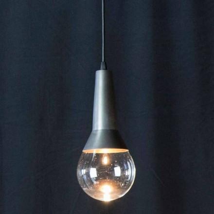 Lámpara de suspensión hecha a mano en hierro negro y vidrio Made in Italy - Suspence