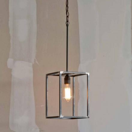 Lámpara colgante de hierro hecha a mano con cadena Made in Italy - Cubola