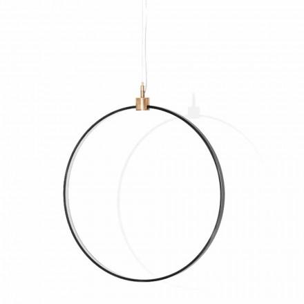 Lámpara de suspensión en aluminio negro y latón natural Made in Italy - Norma