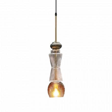 Lámpara de suspensión de cristal de Murano con decoración antigua Made in Italy - Missi