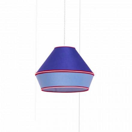 Lámpara de suspensión moderna con pantalla de algodón azul Made in Italy - Soya