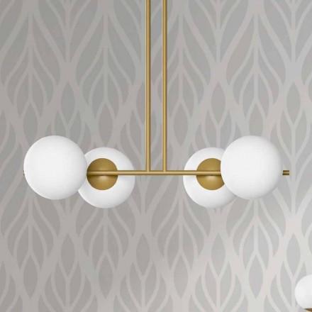 Lámpara de suspensión moderna en metal y vidrio blanco Made in Italy - Carima