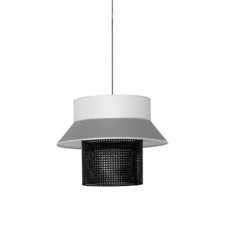 Lámpara de suspensión moderna en tela y ratán Made in Italy - Sailor