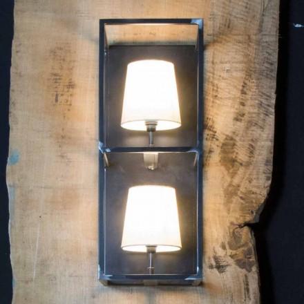 Lámpara de pared artesanal en hierro negro con 2 pantallas Made in Italy - Tower