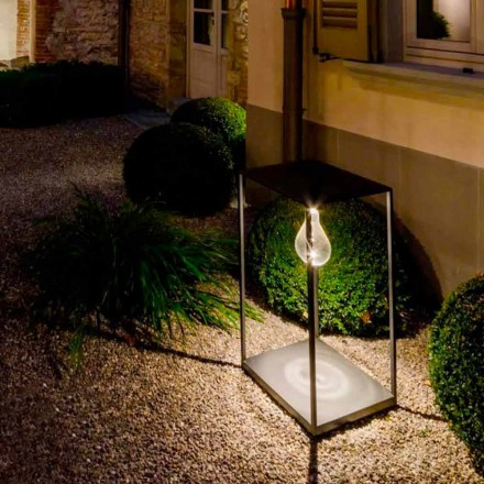 Lámpara de exterior de hierro artesanal con LED integrado Made in Italy - Cubola