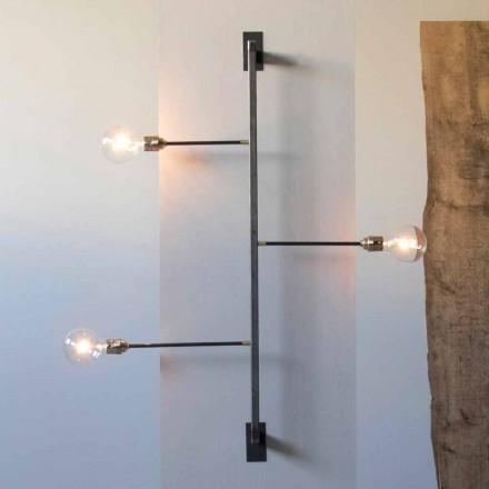 Lámpara de pared de diseño con estructura de hierro negro Made in Italy - Anima