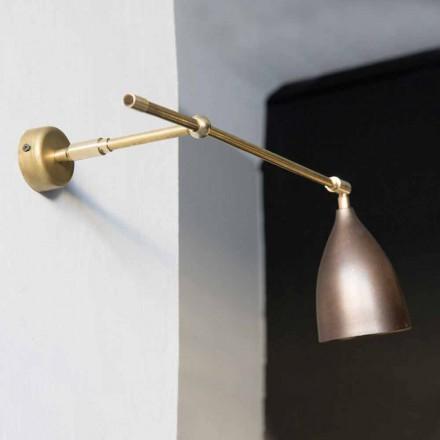 Lámpara de pared de hierro con acabado de latón y cobre bruñido Made in Italy - Cónica