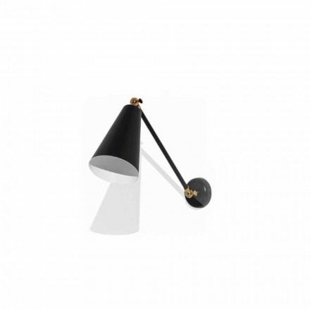 Lámpara de pared de metal con detalles en acabado dorado Made in Italy - Zaira