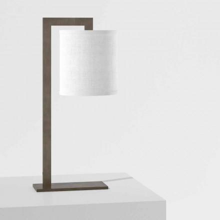 Lámpara de mesa de diseño en metal y lino blanco Made in Italy - Bali