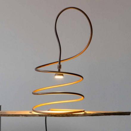 Lámpara de mesa de diseño en efecto cobre bruñido Made in Italy - Fusillo