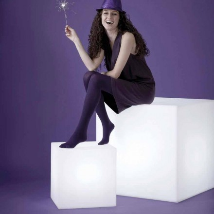 Lámpara de mesa / suelo blanca Slide Cubo, hecha en Italia