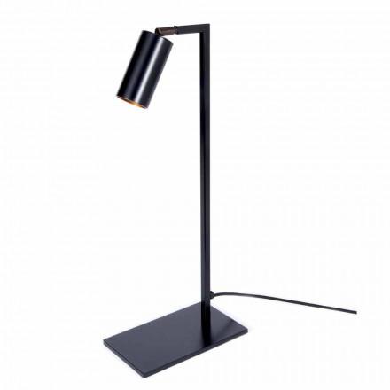 Lámpara de mesa en hierro y aluminio negro mate con LED Made in Italy - Agio