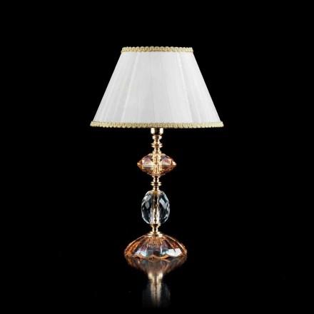 Lámpara de mesa de vidrio y cristal Belle, fabricado en Italia
