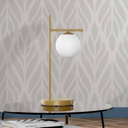 Lámpara de mesa moderna en latón y acabado de vidrio Made in Italy - Carima