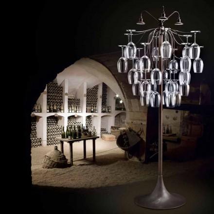 Lámpara de pie hecha con 30 vasos modelo Sauvignon