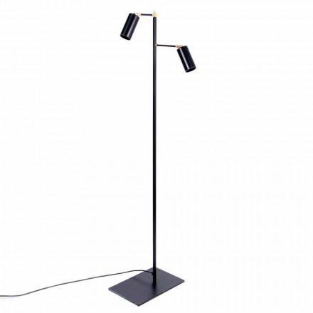 Lámpara de pie artesanal negra con detalles de latón Made in Italy - Asterix