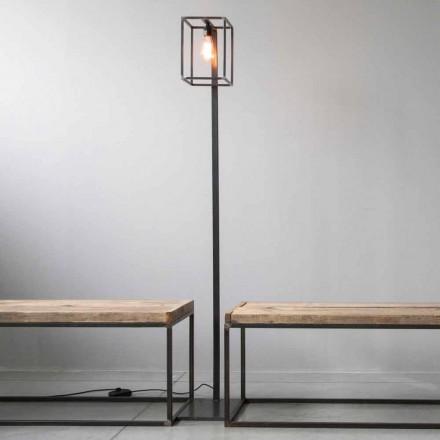 Lámpara de pie con estructura artesanal de hierro negro Made in Italy - Cubola