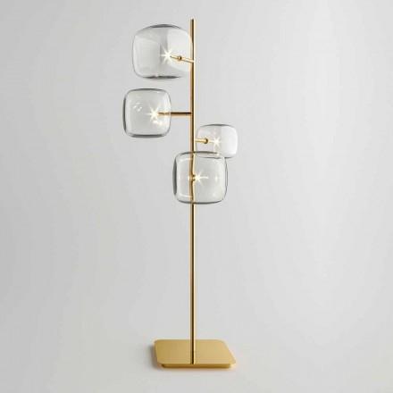 Lámpara de pie de diseño con estructura de metal brillante Made in Italy - Donatina