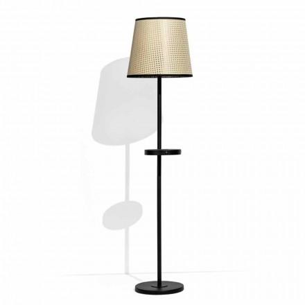 Lámpara de pie en metal negro y ratán con estante Made in Italy - Livia