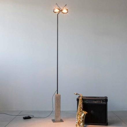 Lámpara de pie de hierro con base de cemento Made in Italy - Wink