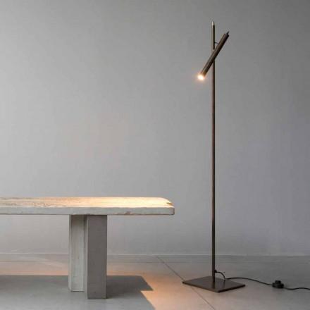 Lámpara de pie en material de hierro acabado dorado Made in Italy - Ginia
