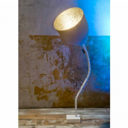 Lámpara de pie de diseño In-es.artdesign Flor Cemento pintado.