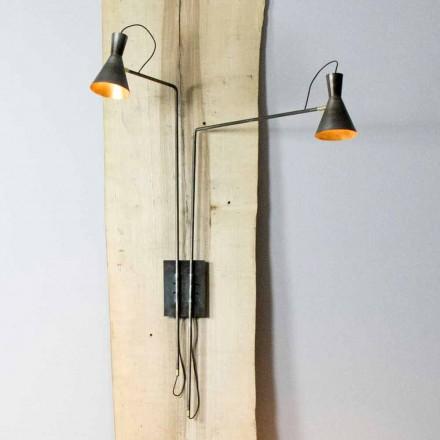 Lámpara de pared doble hecha a mano en hierro y aluminio Made in Italy - Selina