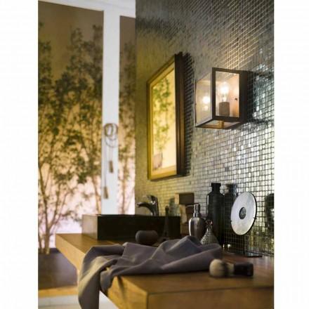 Lámpara de pared industrial latón y cristal Quadro Il Fanale