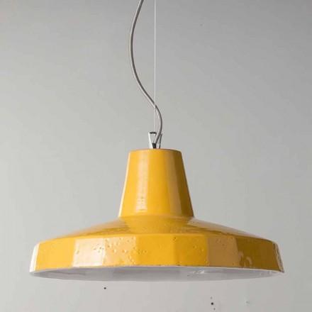 Lámpara colgante de 42cm en latón y maiolica toscana Rossi - Toscot